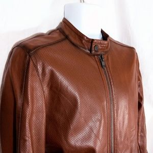 ed520502 Zara Man Brown Faux Leather Jacket w/ Perforation